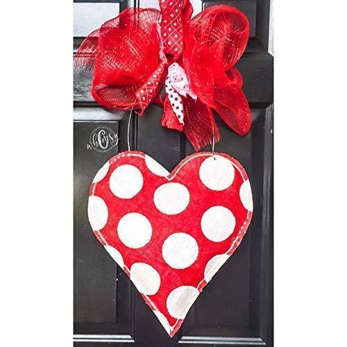 Polka Dot Heart Burlap Door Hanger- Heart Burlap Door Hanger-Valentine Door Hanger- Valentine's Wreath-Heart Wreath-Door - Hanger Door Valentine