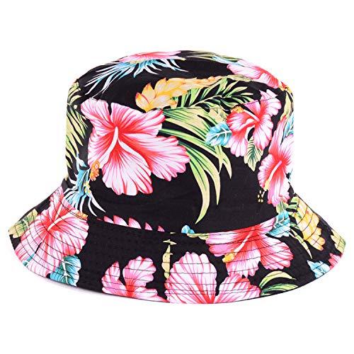 BYOS Fashion Cotton Unisex Summer Printed Bucket Sun Hat Cap, Various Patterns Available (Vintage Flower Black) (Streetwear Bucket Hats)