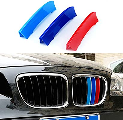 Car Front Grille Strip Insert Trim Cover for BMW X1 E84 09-15 3D M-Colored Stripes
