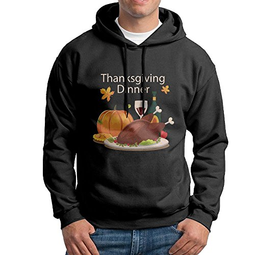 Fashion Men's Athletic Thanksgiving Dinner Print Soft & Cozy Drawstring Hoodie Without Pocket Hoody Black L