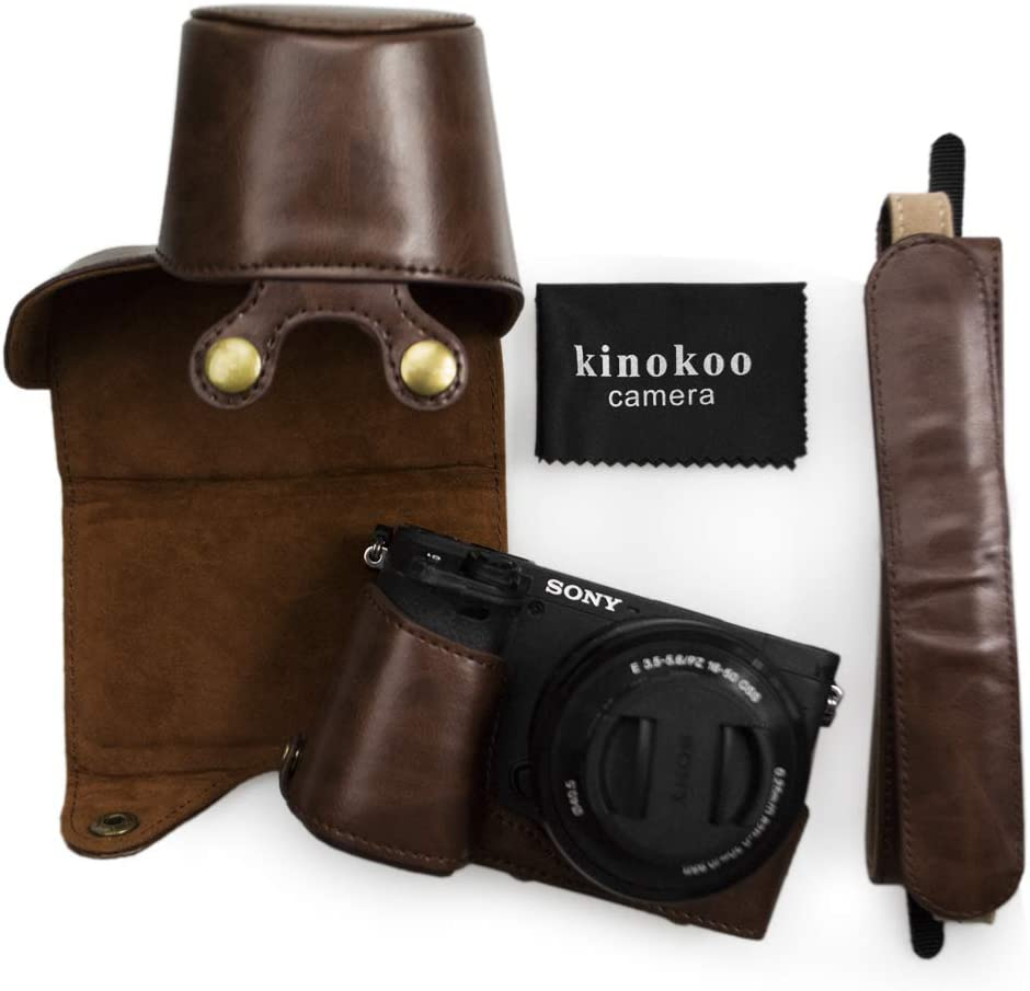 Brown kinokoo Protective Case Bag for Sony A6400 and 16-50mm Lens Camera Case Sony a6400 Case