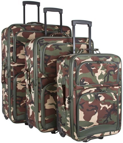 Ever Moda Camo 3-Piece Luggage Set (Green) by Ever Moda