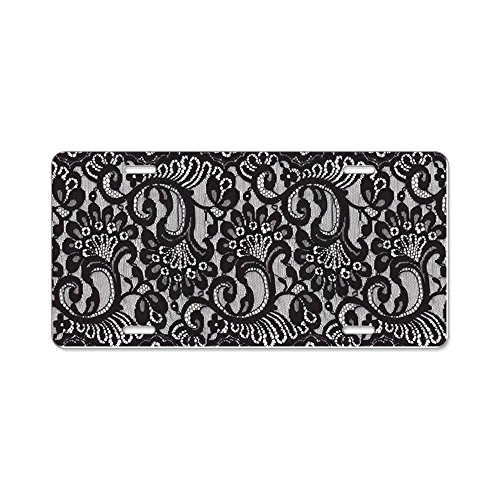 CafePress - Black Lace - Aluminum License Plate, Front License Plate, Vanity -