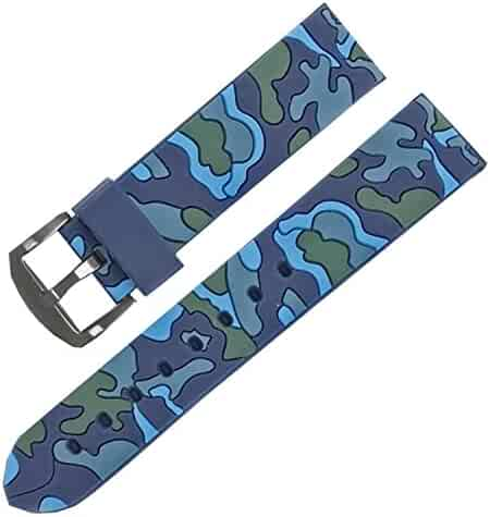 4dfccbea883 22mm Blue Camouflage Rubber Watch Band Strap Military Army Watch Replacement
