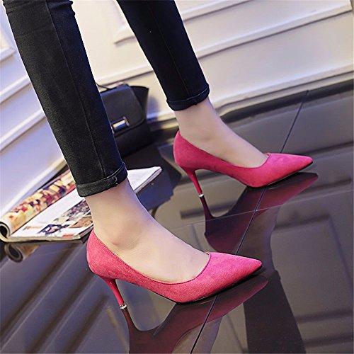 HXVU56546 Durante La Primavera Y El Otoño Nuevos De Tacón Alto De Satén Zapatos De Mujer Fina Con La Punta De Los Zapatos, Zapatos De Mujer Con El Rojo ,37,