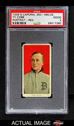 1909-T206-RED-Ty-Cobb-Detroit-Tigers-Baseball-Card-Portrait-Red-Background-PSA-2-GOOD