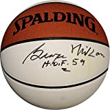"""George Mikan Hand Signed Autographed Basketball""""HOF 59"""" Lakers White Panel - Autographed Basketballs"""