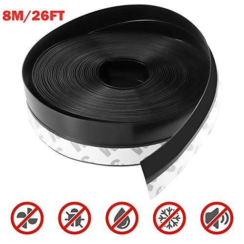 Silicone Seal Strip,8M/26ft Door Strip Bottom for Doors Silicone Sealing Sticker Adhesive for Doors and Windows Gaps of Anti-Collision Silicone (25MM, Black)