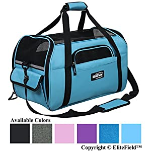 "EliteField Soft Sided Pet Carrier (3 Year Warranty, Airline Approved), Multiple Sizes and Colors Available (Medium: 17"" L x 9"" W x 12"" H, Sky Blue)"