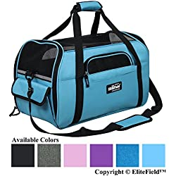 "EliteField Soft Sided Pet Carrier (3 Year Warranty, Airline Approved), Multiple Sizes Colors Available (Medium: 17"" L x 9"" W x 12"" H, Sky Blue)"
