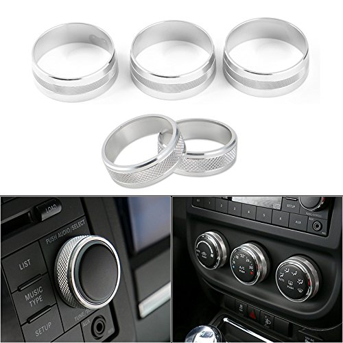 JeCar Interior CD Audio Button Cover& Air Conditioning Button Cover Decoration Switch Ring Trim for 2011 -2016 Jeep Wrangler JK Compass Patriot(Silver)