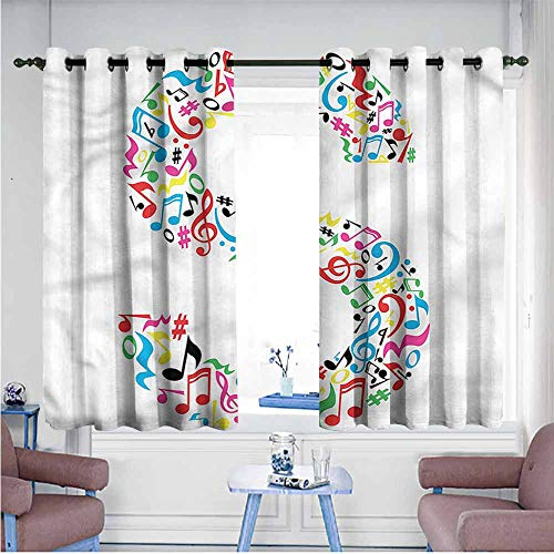 (Polyester Curtain Letter S S with Musical Pattern Decor Curtains by W55 xL45 Suitable for Bedroom,Living,Room,Study, etc.)