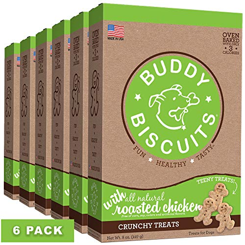Buddy Biscuits Oven Baked Teeny Treats, Whole Grain Treats for Small or Toy Breed Dogs, Roasted Chicken - 8 oz. Pack of 6