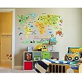 Kids World Map Poster Wall Sticker Illustrated Children's World Map