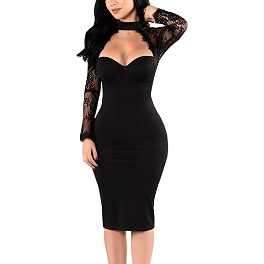HHei K Women Low-Cut Sexy See-Through Lace Tight Dress Round Collar Club  Party d54fb026d