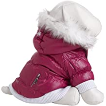 Pet Life Fashion Parka with Removable Hood  - Pink Metallic - Medium