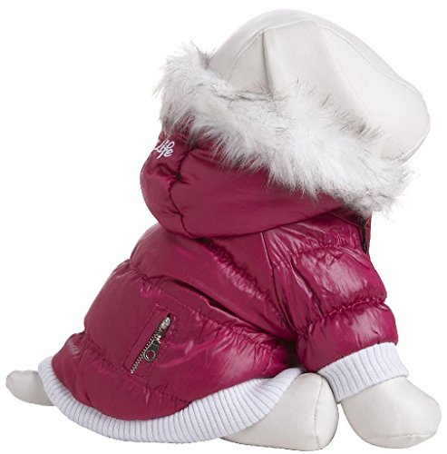 Pet Life Metallic Fashion Dog Parka With Removable Hood - Pink Metallic - Small - Fido Fleece Coats