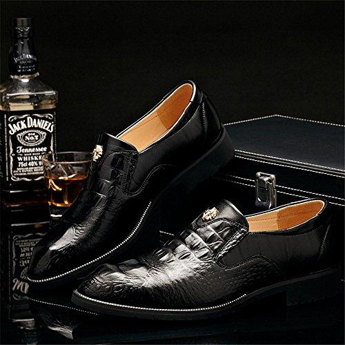 Zapatos de de Cuero Superior de Vestir de Hombres Mocasines para Caballero Hombres Calidad Negocios Black Zapatos Textura los Cocodrilo para los de WY0Fv8nEqX