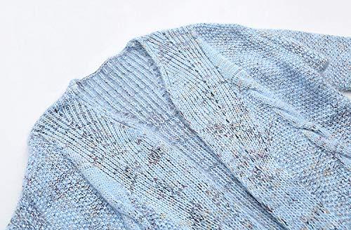 Anchos Con De Mujer Ocasional Jerseys Casuales Unicolor Abrigo Bolsillos Largos Otoño Elegantes Larga Espesar Chaqueta Punto Invierno Azul Cardigan Tejido Mujeres Manga Termica 0vEdq04