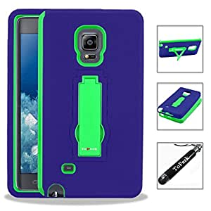 [ Samsung Galaxy Note Edge / N915 ] ToPerk (TM) RUGGED Dual Layer Armor Case With Vertical Stand & Stylus Pen As Bundle Sale - Green/Blue