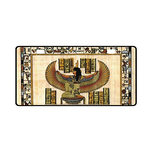 (INTERESTPRINT Ancient Egyptian Natural Papyrus with Goddess Metal License Plate for Car, Metal Auto Tag for Woman Man, 11.8 x 6.1 Inch)