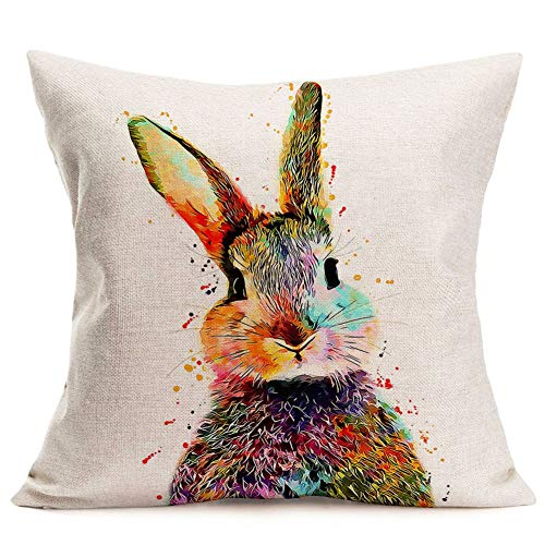 YANGYULU Throw Pillow Covers Cotton Linen Lovely Animals Colorful Rabbit Pillow Cover Home Decor Pillow Cases Cushion Cover for Sofa Couch 18 x 18 Inch