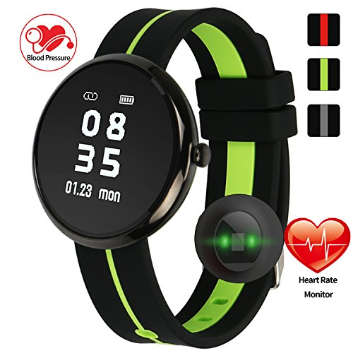 Round Face Fitness Tracker Smart Watch Bracelet with Heart Rate Monitor,Blood Pressure, Sleep Monitor, Pedometer, for IOS and Android Device for Men Women - Men Face Round