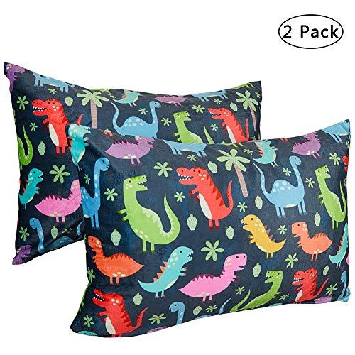 Play Tailor Toddler Pillowcase 2 Pack 14×19 Ultra Soft Velvet Fleece Pillow Case Fits 13″x 18″ 14″x 19″ Toddler Pillow, No Insert, Dinosaur