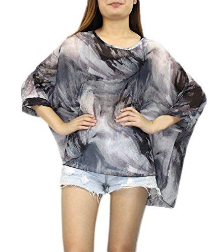 Shirt Color47 JLTPH 4 Tops Hippie Soie 3 Femme Manches en de Batwing Chemise T Bohme Blouse Mousseline Hhippie TUpqaIU