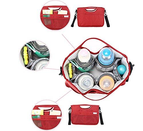 Mummy paquete de paquete de colgar el bolso de colgar colgando multi - funcional solo - paquete de aislamiento del bolso de hombro ( Color : Vino rojo ) Rojo