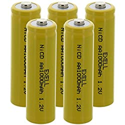 5x Exell AA 1.2V 1000mAh NiCD Button Top Rechargeable Batteries Solar Lights, Radios, Clocks, High Drain Applications, Garden Lights