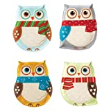 Boston Warehouse Earthenware Snowy Owls Cocktail Plate, Set of 4