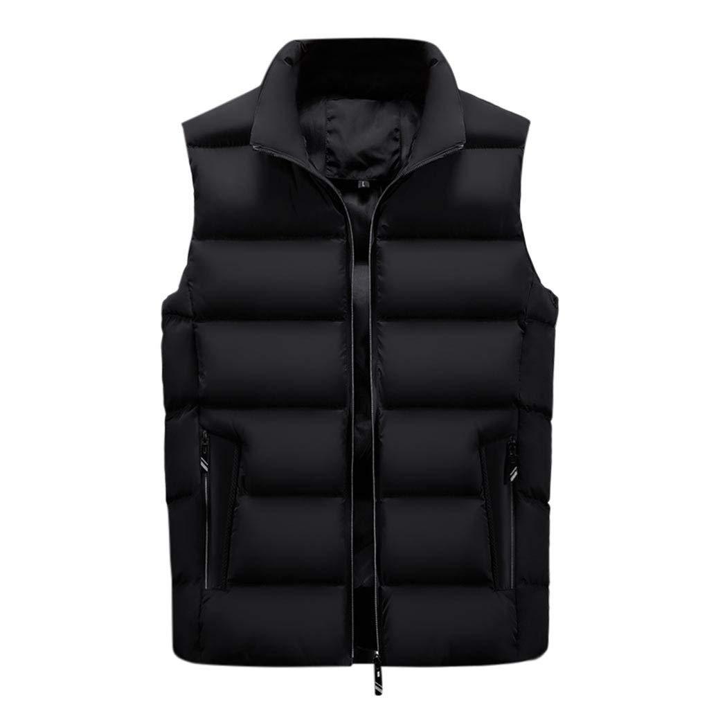Men Outerwear Vests Beautyfine Autumn Winter Coat Padded Cotton Warm Hooded Thick Tops Jacket Waistcoat by Beautyfine Sweatshirts