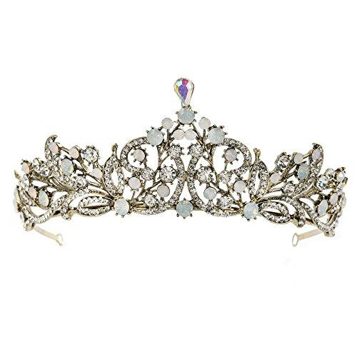 FANGZHIDI Baroque Antique Gun-Color Rhinestone Opal Crowns AB Crystal Tiara Headband Stylish Hairpieces Headdress Halloween Costume Headpieces Leaves Branch Head-wear for Adult Little Girls (C1151)]()