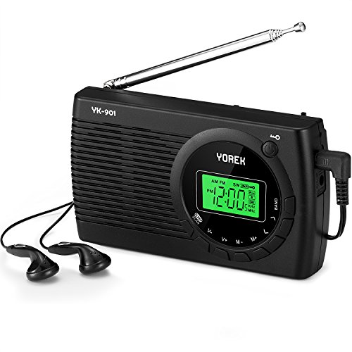 AM/FM/SW Radio, Yorek Portable Digital Alarm Clock Radio with Sleep Timer Function, Battery Operated Stereo Radio, Earphone Included