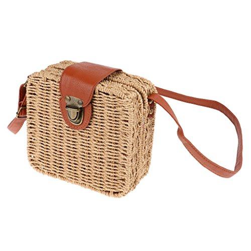 Sharplace Non-brand Tote Shoulder Bag Woman Messenger Bag Straw Vintaje Push Lock Closure For Summer Beach - Khaki Beige