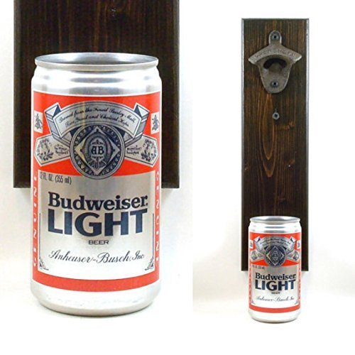 wall-mounted-budweiser-beer-bottle-opener-with-a-vintage-bud-light-beer-can-cap-catcher