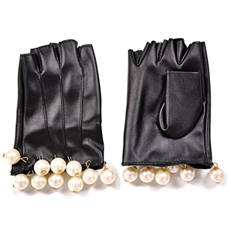 充電決定する元のエレガント フェイクレザー ショートグローブ グローブ 手袋 パール フリル
