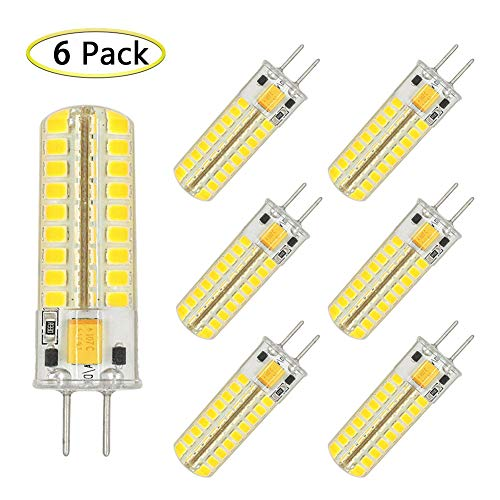 able 5W Equivalent to T4 JC Type 50W Incandescent Halogen Bulb GY6.35 Replacement, GY6.35/G6.35 Bi-pin Base, AC/DC 12V Daylight White 6000K Light Bulb (6 Pack) ()