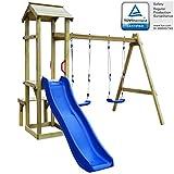 Festnight Set Playhouse Tower Playground Slide Ladder Swing Outdoor Garden - Pinewood, 238x228x218 cm