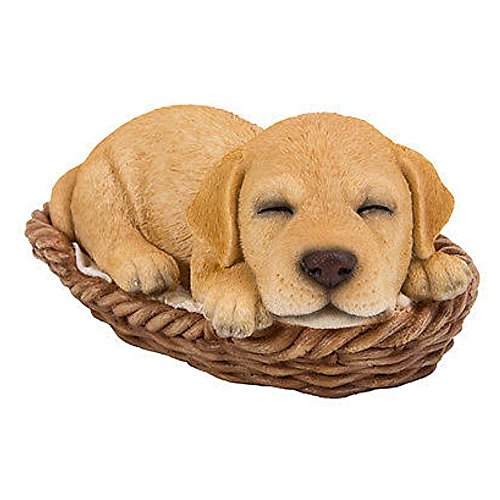 Puppy In A Basket Figurine Yellow Labrador 6.5 inches (Yellow Labrador Dog Figurine)