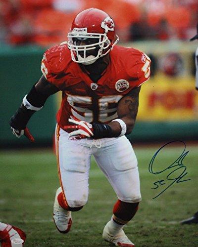 Johnson Autographed Mini Helmet (Derrick Johnson Autographed 16x20 Vertical KC Chiefs Photo- JSA W Authenticated)