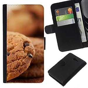 NEECELL GIFT forCITY // Billetera de cuero Caso Cubierta de protección Carcasa / Leather Wallet Case for Sony Xperia M2 // Galletas de chocolate