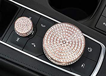 NIUHURU Bling Crystal Fashion Car Interior Trim Bling Accessories fit for Cadillac CT6 CT5 XT4 CT6 XT5 XT6 Central Control Volume Knob Decoration Accessories Rhinestone Decals Cover Silver