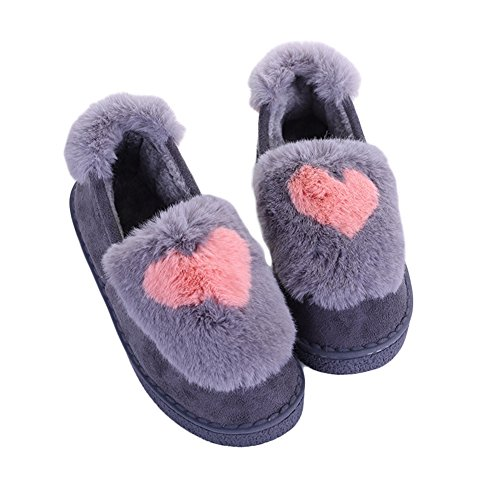 CYBLING Womens Winter Plush Slipper Anti-skid Thick Sole Indoor Outdoor House Shoes Gray ODcRyB3