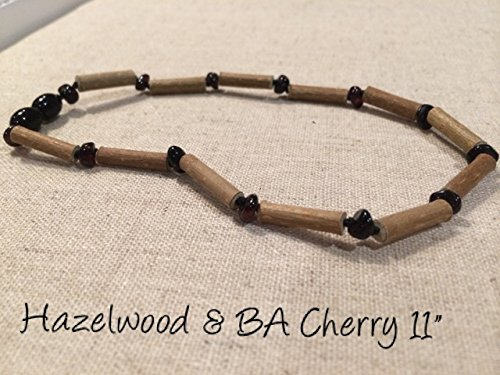 Reflux heartburn GERD 28 cm Hazel wood Baltic Essentials BA-Hazelwood-Cherry-11-N Black Cherry Hazelwood 11 inch Baltic Amber Necklace for babies baby infant toddler bub for Gut issues; Eczema and ulcers Colic