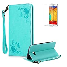 For Samsung Galaxy J7 2017 Case,Funyye Premium [Rose Flower Embroidery Pattern] PU Leather Wallet Magnetic Closure Cover with [Wrist Strap] Book Type Stylish Full Protection Holster Case Cover Skin Shell for Samsung Galaxy J7 2017-Mint Green