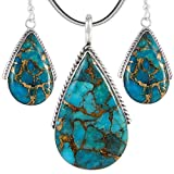 Turquoise Pendant & Earrings Set in 925 Sterling Silver with 20' Chain (Pendant+Earrings+Chain)