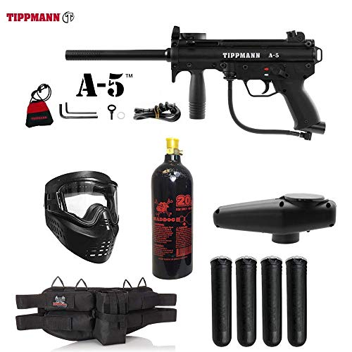 MAddog Tippmann A5 A-5 Standard Silver Paintball Gun Package - Black ()