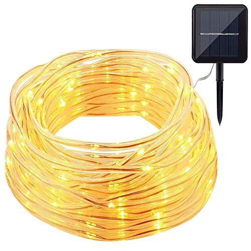 GDEALER Solar Rope Lights 33ft 100 LED IP65 Waterproof Copper Wire Outdoor String Lights Warm White - for Garden, Yard, Home, Path, Landscape Decoration (Above Outdoor Metal)
